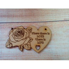 Laser Cut rose Heart Where There is